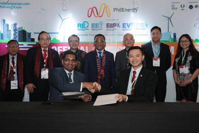 SEAL THE PARTNERSHIP DEAL. (from left, seated) Mr. M. Gandhi (Group Man. Dir. (ASEAN Bus. & Sr. VP - Informa Markets Asia) and Dr. Cirilo Calibjo (Nat Pres - IIEE). (from left, at the back Ir. Mohd Khir bin Muhammad (Hon. Sec - IEM); Ir. David Lai Kong Phooi (Pres. - IEM); Dr. S. Milton (Sr Advisor of METI); Dato' Ir. Ahmad Asri Hamid (Chief Exec - CIDB, Malaysia); Mr. Erel Narida (Pres - REAP); Mr. Edmund Araga (Pres - eVAP); Ms. Maria Concepcion Simundac (CorpSec - PE2).