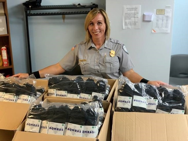 VMD employee Renee Zalot, who works at the Atlantic City airport, coordinated a donation of 1,000 pairs of Bombas socks for women in need.