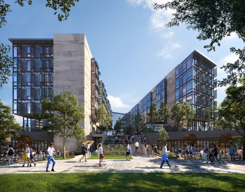 Middle Earth Expansion housing and student-life center at the University of California, Irvine (UCI) -- energy-efficient, LEED-Platinum accommodations along with dining, learning and amenity spaces by a design-build collaboration of Mithun and Hensel Phelps.