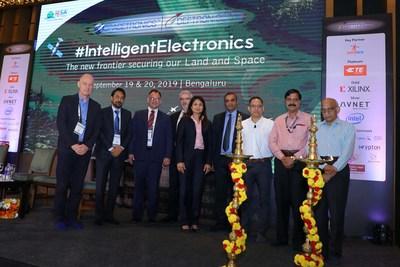 (R to L): Chief Guest - Dr. A S Kiran Kumar, Scientist & Former Chairman, ISRO; Dr. P V Venkitakrishnan, Director, CBPO, ISRO; Jitendra Chaddah Senior Director, Operations and Strategic Relations, Intel India Chairman, IESA; Anilkumar Muniswamy, Former Chairman, IESA & MD, SLN Tech; Rina Raman, VP & GM, Embedded Acceleration Div. Data Centric Group, Intel Corp; Thierry Marin Martinod, VP CTO of A&D & Mktg, TE Connectivity; David Gamba, Senior Director – A&D Vertical Marketing, Xilinx; Rahul K Mathur, Director, TE Connectivity; Andrew Glascott-Jones, Field Applications Er., Teledyne e2v Semiconductors