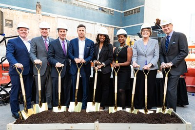 Pictured at the groundbreaking ceremony, left to right: Covenant House International President Kevin Ryan; Covenant House International board chairman Tom McGee; Covenant House New York board member Louis Rauchenberger; Covenant House International board member Strauss Zelnick; Covenant House International board member and six-time Tony Award winner Audra McDonald; Michean Hall, a Covenant House alumni; Sr. Nancy Downing, Executive Director of Covenant House New York; and Covenant House International board member John Dickerson.