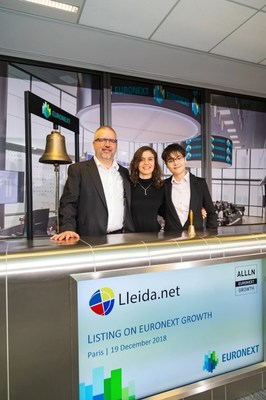 Lleida.net's CEO Sisco Sapena during Euronext listing ceremony