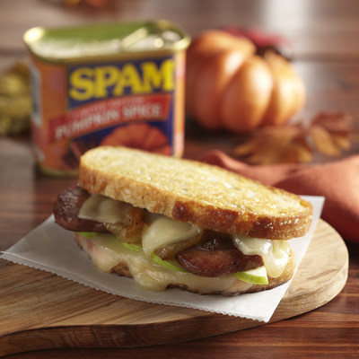 SPAM® Pumpkin Spice, Apple and Cheddar Grilled Cheese with Caramelized Onions