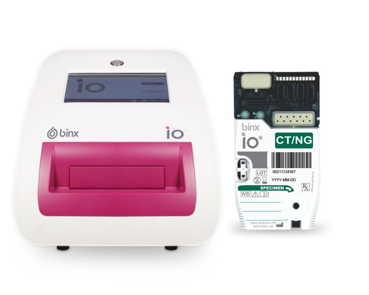 The binx health io system is a fully automated, qualitative test intended for use in point-of-care or clinical laboratory settings for the rapid detection of Chlamydia trachomatis and Neisseria gonorrhoeae DNA in female vaginal swab specimens collected either by a clinician or self-collected by a patient in a clinical setting. In its first real-world use, the binx io platform delivered same-visit diagnosis and treatment for chlamydia and gonorrhea, the two most tested for STIs globally.