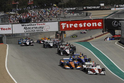 Honda's Colton Herta (#88) leads the field into the first turn of today's season-ending NTT IndyCar Series event at WeatherTech Raceway Laguna Seca. Herta went on to score his second win of the season, and Honda won the Manufacturers' Championship for the second successive season.