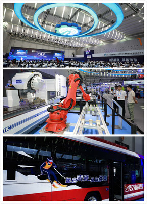 The opening ceremony of AEME on September 20, 2019 (Top); Smart Profile Machining Center by PRATIC CNC Science & Technology Co., Ltd. (Middle); Hydrogen-powered vehicle in Nanhai exhibition area (Bottom).