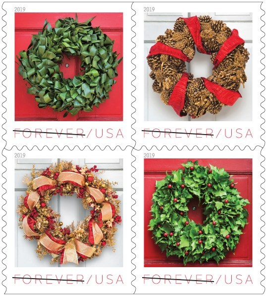 Inspired by the holiday decorating traditions of early America, the four designs featured on the new Holiday Wreath stamps are classic yet contemporary. Wreaths are often made from materials easily found during the winter months, including pinecones, dried flowers and berries.