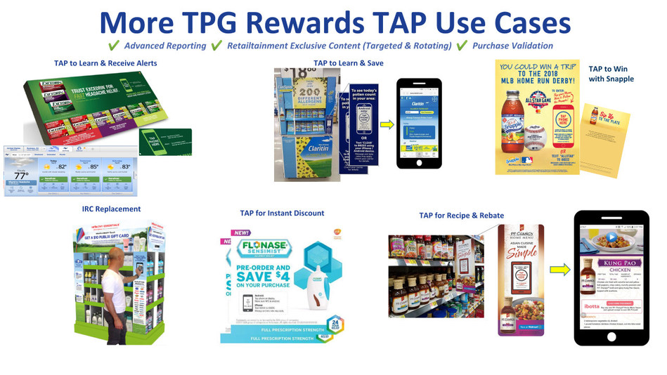 "TPG Rewards TAP Uses Cases: (as pictured Excedrin Tap to Learn, Snapple Tap to Win, P.F. Chang's® Sauces Tap for Recipe, Flonase Tap for Instant Discount, Claritin Tap for Pollen Count). TPG is unique in the industry as it pioneered and developed (since 2014) NFC chip technology to assist its CPG clients with both ""collateral compliance"" and ""consumer marketing"" programs. Today, TPG's proprietary TAP Technology is known as the most robust and successful TAP marketing platform in the World."
