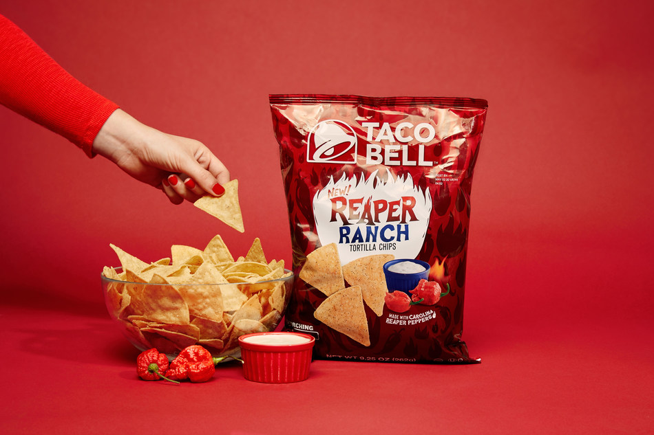 Taco Bell is turning up the heat in its latest innovation for fans everywhere. After infusing one of the world's hottest peppers into a Reaper Ranch sauce for a twist on Nacho Fries earlier this year, the brand is now incorporating that unexpected zesty and spicy flavor mashup into Reaper Ranch Tortilla Chips, available today at regional and national retailers across the country while supplies last.