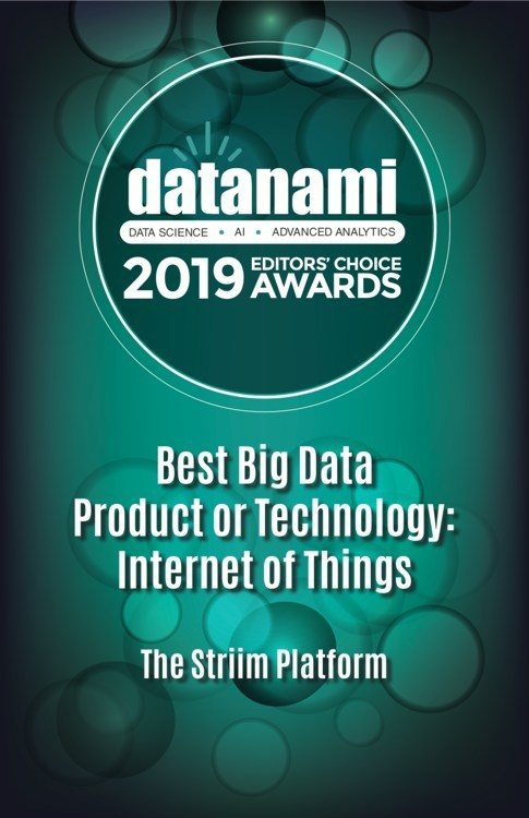 Striim Recognized as a Datanami Readers' and Editors' Choice Awards Winner for Best IoT Technology