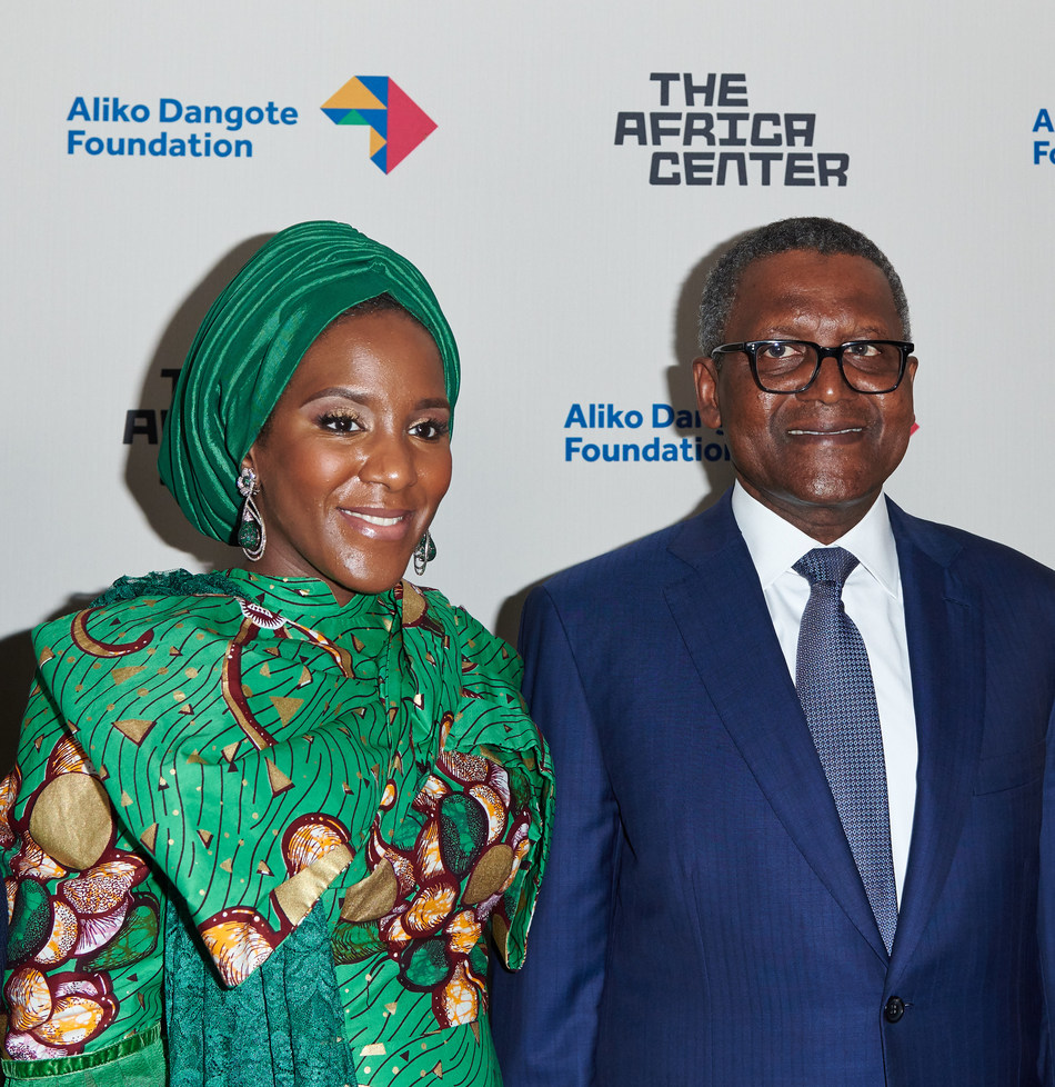 """Halima Aliko Dangote, Board President, Africa Center and Aliko Dangote, Chairman, Aliko Dangote Foundation attend the Future Africa Forum at The Africa Center in New York, where a transformative $20 million donation by the Aliko Dangote Foundation was announced. In recognition of this historic donation, the Center renamed its venue """"The Africa Center at Aliko Dangote Hall"""" at a ceremony during the Future Africa Forum."""