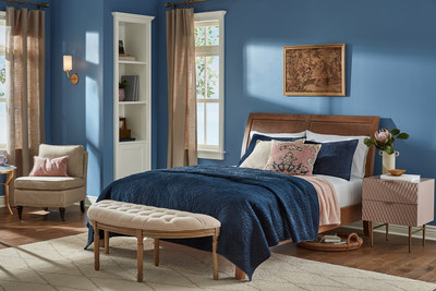 Finian Blue: Decadent jewel-toned blues and nostalgic neutrals get a modern twist with the romantic nuances of blush pink and gold accents. The perfect getaway from a busy life.