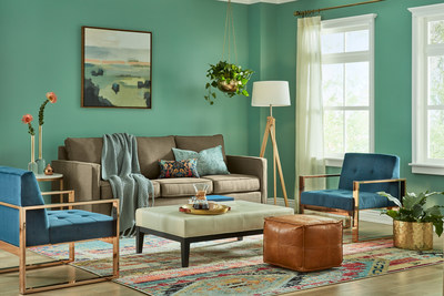 Restful: Restful greens and decadent blues pair with lush, velvety fabrics and gold details to make a cozy night at home feel like a private retreat. Touches of vibrant coral lend a happy vibe to this relaxing space.