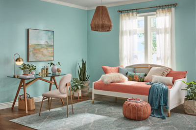 Mint to Be: Minty blues and playful corals strike a delightfully optimistic note. The soothing qualities of Mint To Be beautifully balance the energetic nature of Coral Reef while Fundamental White keeps things light and airy.